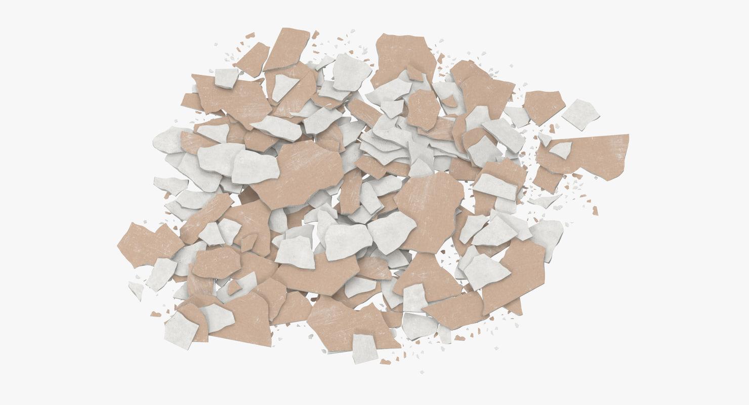 3d model broken sheetrock 04 -