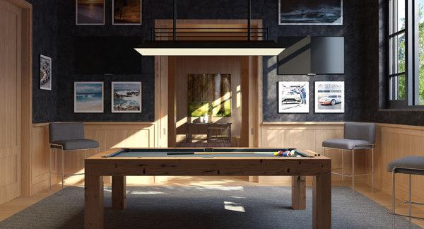 interior scene billiard room 3d 3ds