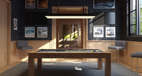 interior scene billiard room 3d 3ds