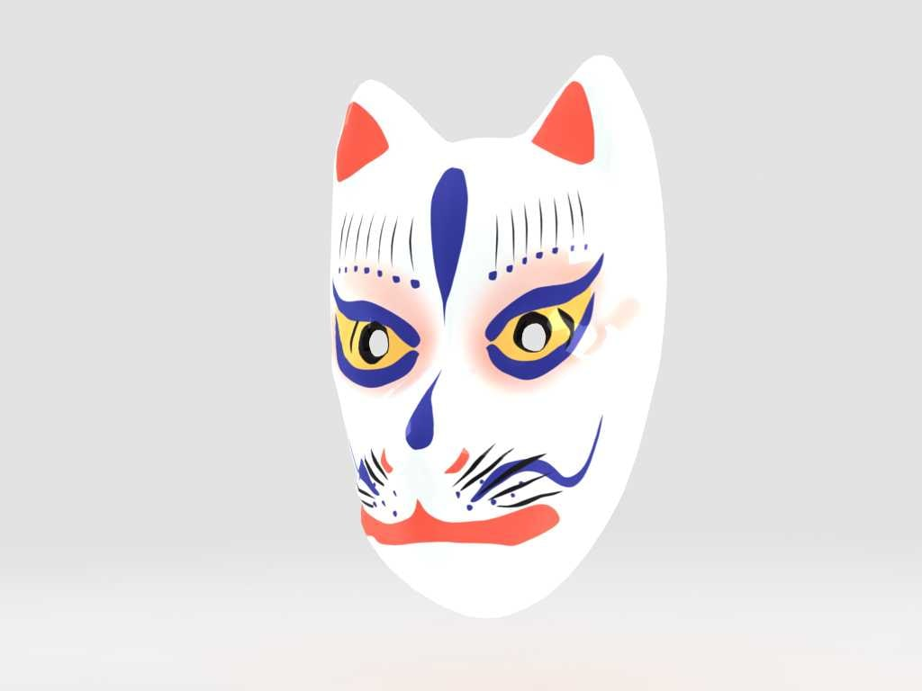 3d model kitune mask