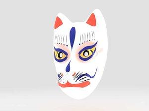 3d model kitune mask