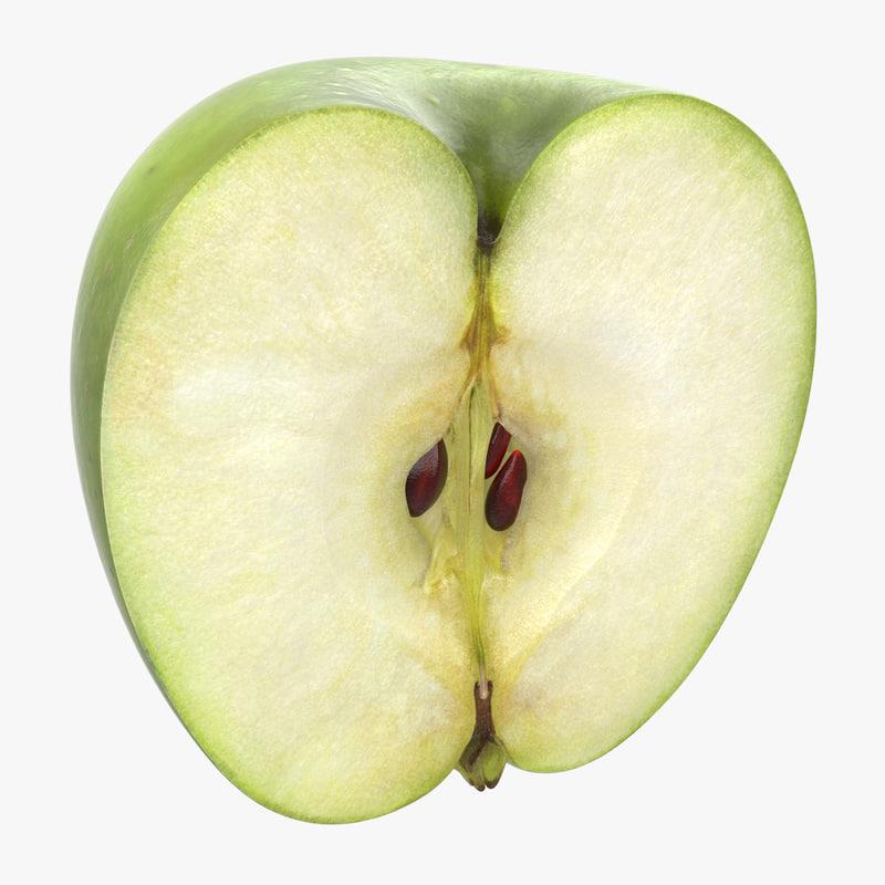 green apple half 3d model