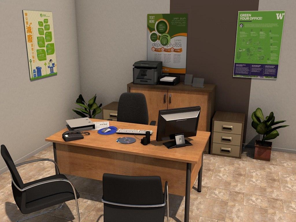 3d office room pack 3 model