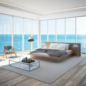 3d max luxury bedroom interior sea