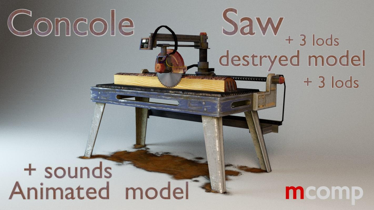 saw sawmill console 3d fbx