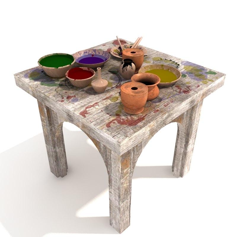 3d splashed table set model