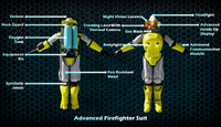 futuristic firefighter 3 different 3d model