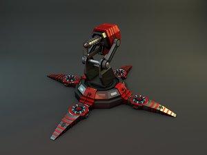 3d model flamethrower turret