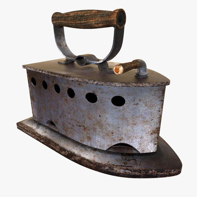 3d model vintage iron coal