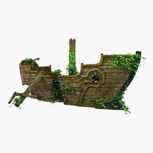 3d model broken pirate ship