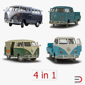 volkswagen type 2 rigged 3d model