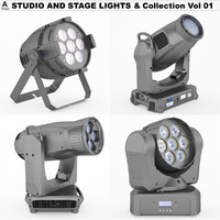 studio stage lights vol 3d model