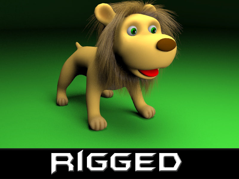 max rigged cartoon lion