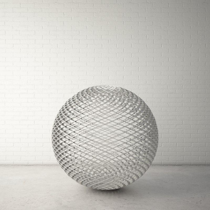 custom public sculpture ball 3d model
