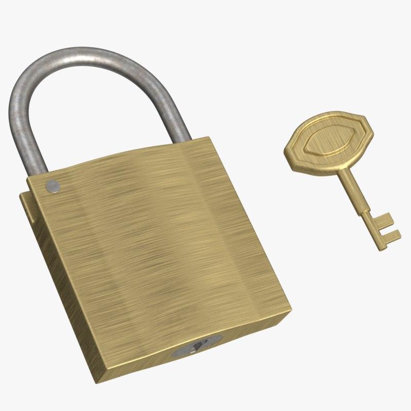 lock key padlock 3d model