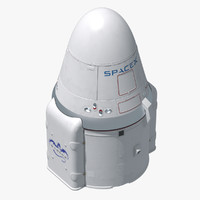 dragon space x capsule 3d obj