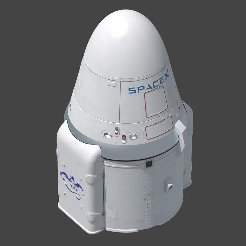 dragon space x capsule 3d obj