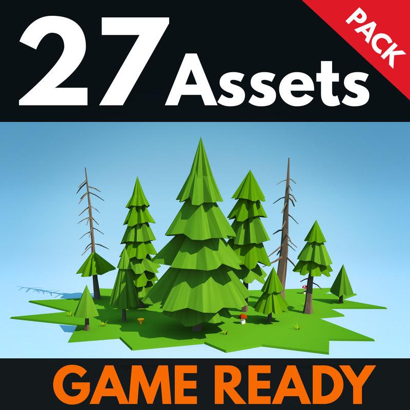 3d model fir pack trees