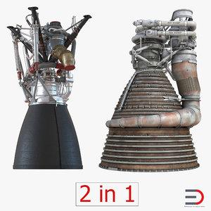 rocket engines 3d c4d