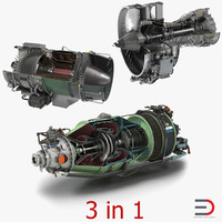 3d model sectioned turbojet engines modeled