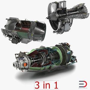 3d sectioned turbojet engines modeled model