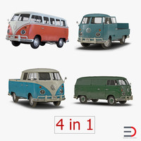 Volkswagen Type 2 3D Models Collection