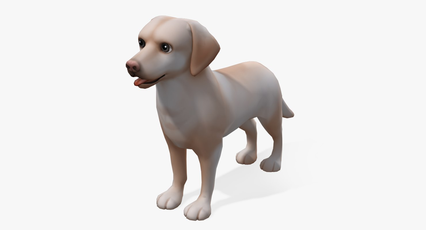 3d obj cartoon animals labrador