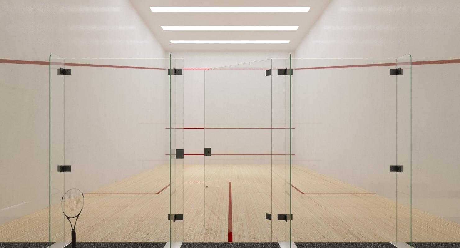 3d model interior scene squash court