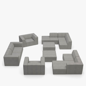 3d boconcept carmo based sectional sofa