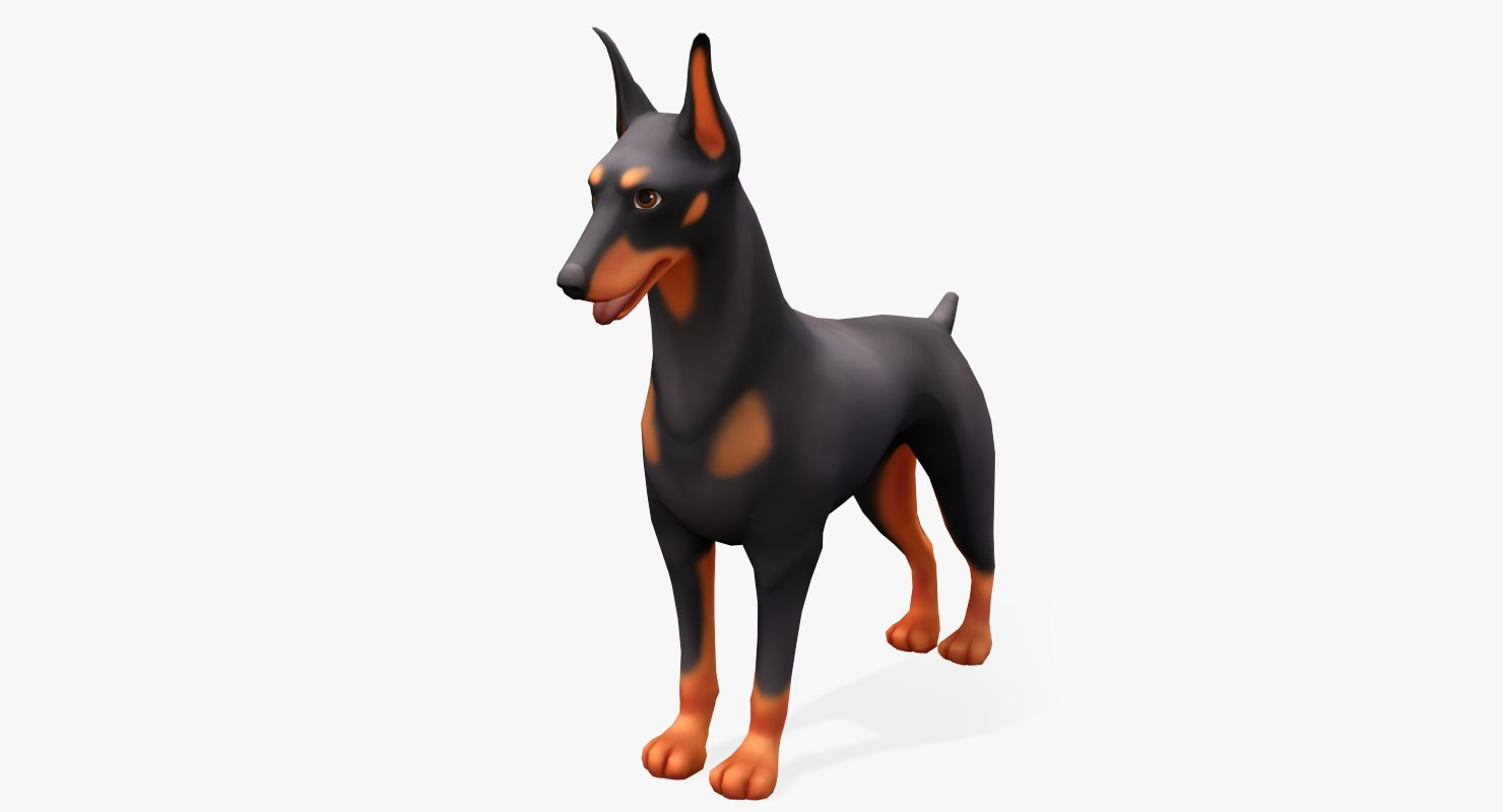 3d cartoon animals doberman model