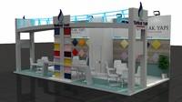 fair exhibition wooden stand 3d model