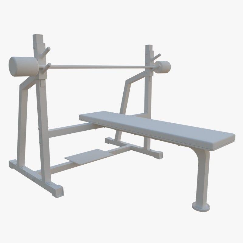 3d olympic flat bench model