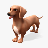 cartoon animals dachshund 3d model