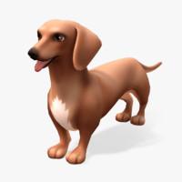 cartoon animals dachshund 3d model
