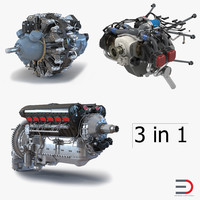 piston aircraft engines 2 3d model