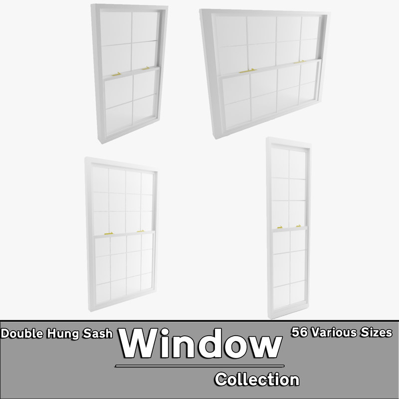 3d model double hung sash window