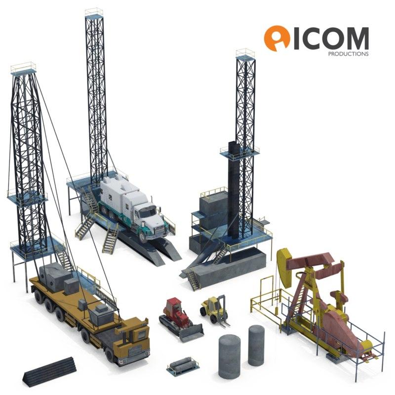 assortment drilling equipment vehicles 3d model