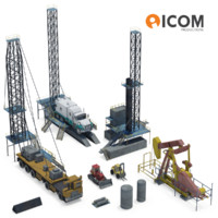 assortment drilling equipment vehicles 3d model