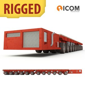 3d rigged self-propelled modular transporter model