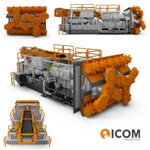 3d model of sandvik borer miner