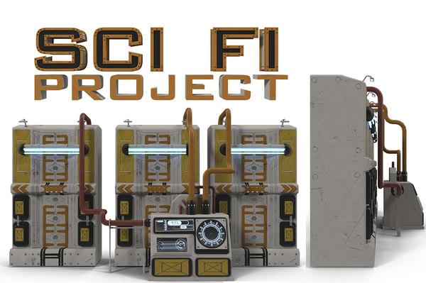 3d model sci fi control cabinet