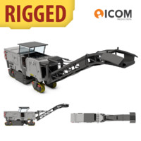 3d rigged asphalt milling machine model