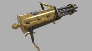gatling machine gun 3d obj