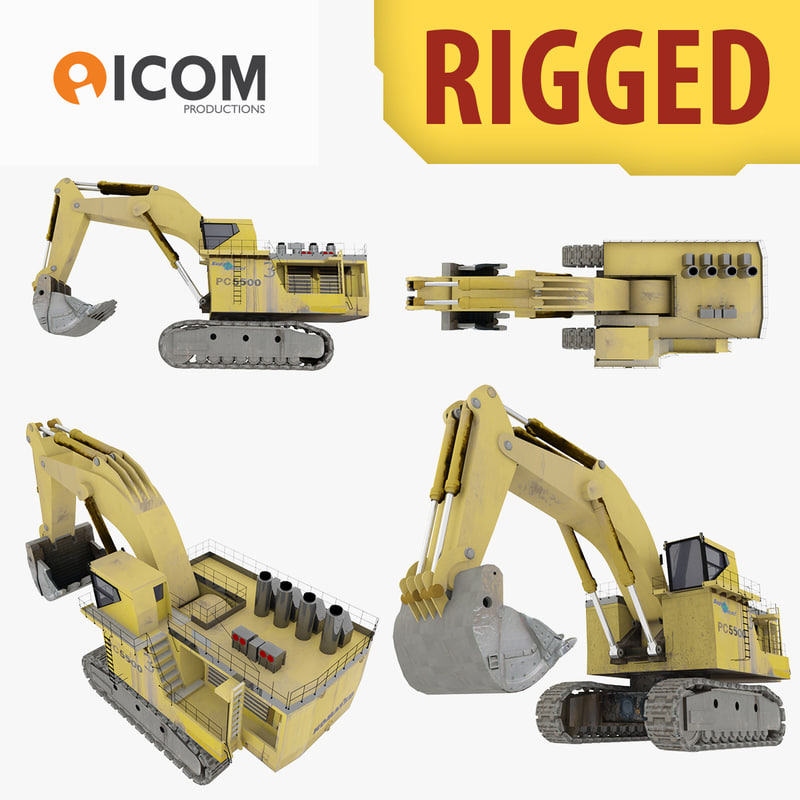 rigged shovel excavator construction 3d model