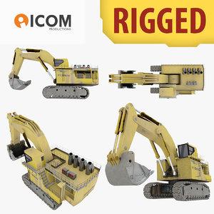 rigged shovel excavator construction 3d model