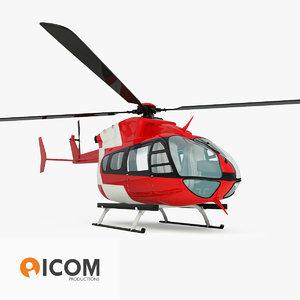 emergency eurocopter ec145 helicopter 3d fbx