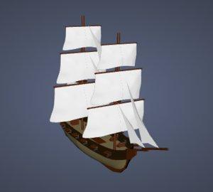 3d model ship brigs pirate