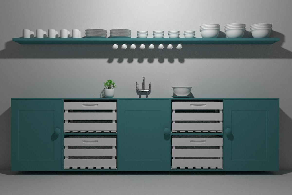 3d model kitchen cabinet