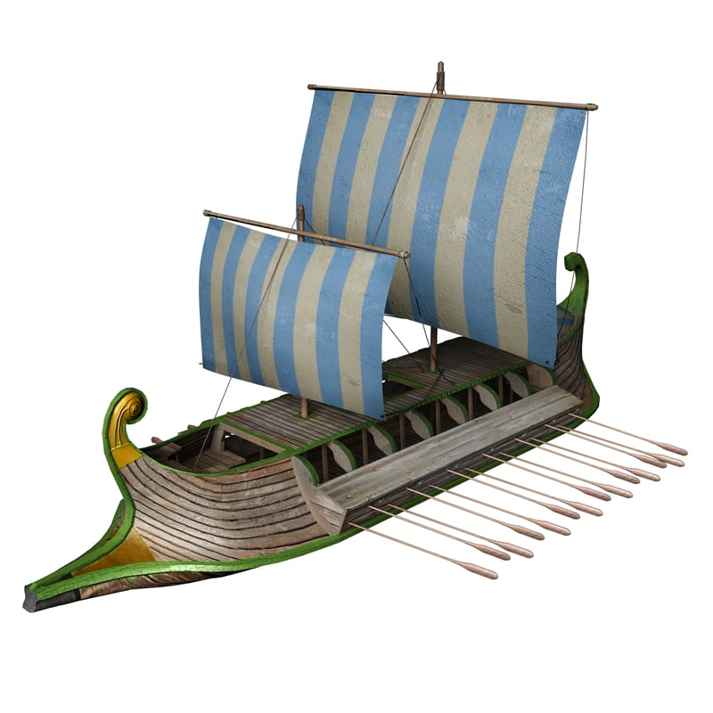 greek roman trireme obj