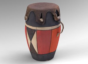 small african drum 3d model